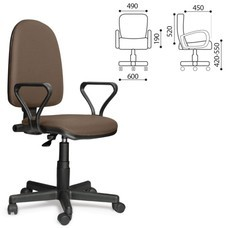 """Кресло оператора """"Престиж"""", регулируемая спинка, с подлокотниками, светло-коричневое"""