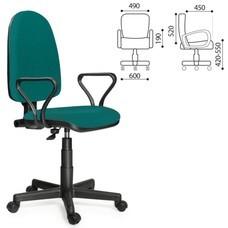 """Кресло оператора """"Престиж"""", регулируемая спинка, с подлокотниками, зеленое"""