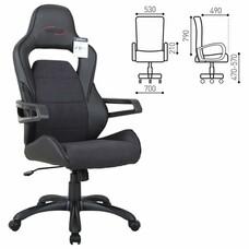 """Кресло компьютерное BRABIX """"Nitro GM-001"""", ткань, экокожа, черное"""