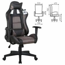 """Кресло компьютерное BRABIX """"GT Racer GM-100"""", две подушки, ткань, экокожа, черное/коричневое"""