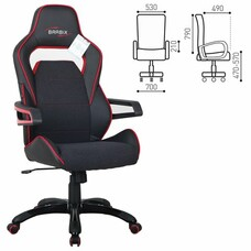 """Кресло компьютерное BRABIX """"Nitro GM-001"""", ткань, экокожа, черное, вставки красные"""
