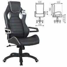 """Кресло компьютерное BRABIX """"Techno Pro GM-003"""", экокожа, черное/серое, вставки серые"""