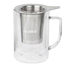 """Кружка для заваривания чая/кофе ЛАЙМА """"Молли"""", 300 мл, жаропрочное стекло/нержавеющая сталь, 601362"""