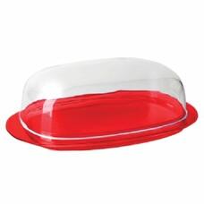 """Масленка с крышкой, для масла/сыра, """"Кристал"""", 6х10,6х19 см, красная/прозрачная, IDEA, М 1126"""