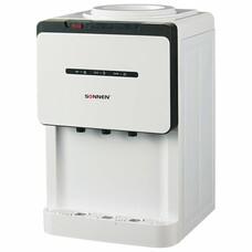 Кулер для воды SONNEN TSE-02, настольный, электронное охлаждение/нагрев, 3 крана, белый/черный, 453976