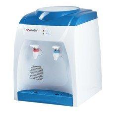 Кулер для воды (диспенсер) SONNEN TS-02, настольный, нагрев/без охлаждения, 2 крана, белый/синий, 452416