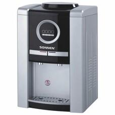 Кулер для воды SONNEN TEB-02, настольный, электронное охлаждение/нагрев, 2 крана, серебр./черный, 453981