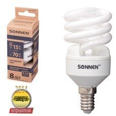 Лампа люминесцентная энергосберегающая SONNEN Т2, 15 (70) Вт, цоколь E14, 8000 часов, холодный свет, эконом, 451072