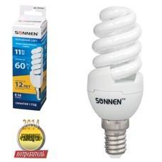 Лампа люминесцентная энергосберегающая SONNEN Т2, 11 (60) Вт, цоколь E14, 12000 ч., холодный свет, премиум, 451052