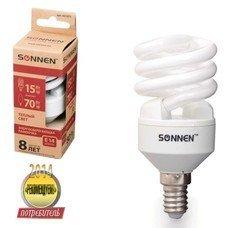 Лампа люминесцентная энергосберегающая SONNEN Т2, 15 (70) Вт, цоколь E14, 8000 часов, теплый свет, эконом, 451071