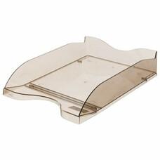 """Лоток горизонтальный для бумаг СТАММ """"Люкс"""", тонированный коричневый, ЛТ67"""