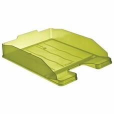 """Лоток горизонтальный для бумаг СТАММ """"Эксперт"""", тонированный зеленый (лайм), ЛТ206"""