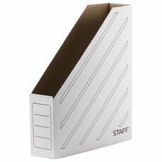 Лоток вертикальный для бумаг, микрогофрокартон, 75 мм, до 700 листов, белый, STAFF, 128881