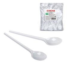 Одноразовые ложки чайные ЛАЙМА Бюджет, комплект 100 шт., пластиковые, 125 мм, белые, 600948