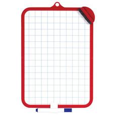 Доска для рисования с маркером и губкой, ПИФАГОР, 185х260 мм, клетка, красная рамка, подвес, 236897