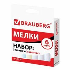 Мел BRAUBERG, набор 6 шт. (3 белых и 3 цветных), квадратный