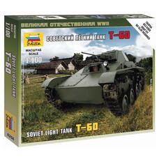 """Модель для сборки ТАНК """"Легкий советский Т-60"""", масштаб 1:100, ЗВЕЗДА, 6258"""