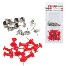 Набор STAFF, силовые кнопки-гвоздики красные 50 шт., кнопки канцелярские серебристые 50 шт., блистер, 226254