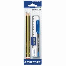 Набор STAEDTLER, ручка шариковая, карандаши чернографитные 2 шт. (НВ), резинка стирательная, точилка, линейка, 120SET BKD
