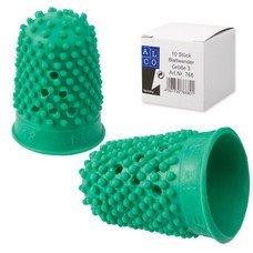 Напальчник для бумаги, диаметр 18 мм, высота 30 мм, ALCO 766, зеленый, резиновый, 811525