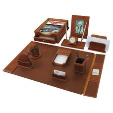 Набор GALANT настольный из кожи, 9 предметов, коричневая кожа, двойной лоток, часы, 231190