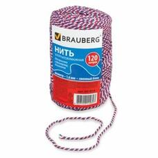 """Нить хлопчатобумажная для прошивки документов BRAUBERG, диаметр 1,6 мм, длина 120 м, сменный блок, """"Триколор"""", 601814"""