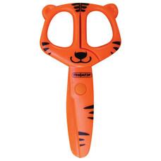 """Ножницы ПИФАГОР """"Тигренок"""", 120 мм, с безопасными пластиковыми лезвиями, оранжевые, картонная упаковка с европодвесом, 236858"""