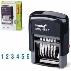 Нумератор 6-разрядный, оттиск 25х4 мм, синий, TRODAT 4846, корпус черный