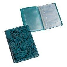 """Бумажник водителя BEFLER """"Гипюр"""", натуральная кожа, тиснение, 6 пластиковых карманов, бирюзовый, BV.38.-1"""