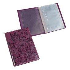 """Бумажник водителя BEFLER """"Гипюр"""", натуральная кожа, тиснение, 6 пластиковых карманов, фиолетовый, BV.38.-1"""
