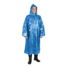 Плащ-дождевик с капюшоном, на кнопках, особо прочный, полиэтилен 40 мкм, синий, UNIBOB, подвес, 52098