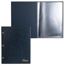 "Папка ""Меню"" на трех винтах, с 10 файлами, 220х320 мм, синяя, ""ДПС"", 2273.М-101"