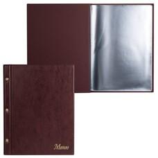 "Папка ""Меню"" на трех винтах, с 10 файлами, 220х320 мм, коричневая, ""ДПС"", 2273.М-104"