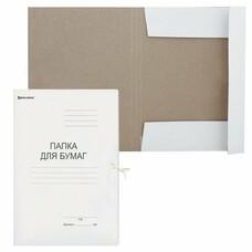Папка для бумаг с завязками картонная BRAUBERG, гарантированная плотность 300 г/м2, до 200 л., 124567