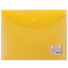 Папка-конверт с кнопкой BRAUBERG, А5, 240х190 мм, прозрачная, желтая, 0,15 мм, 224028