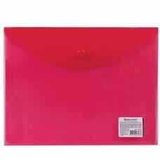 Папка-конверт с кнопкой BRAUBERG, А5, 240х190 мм, прозрачная, красная, 0,15 мм, 224026