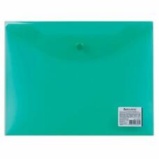 Папка-конверт с кнопкой BRAUBERG, А5, 240х190 мм, прозрачная, зеленая, 0,15 мм, 224025