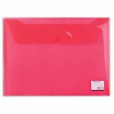 Папка-конверт с кнопкой BRAUBERG, А4, прозрачная, красная, до 100 листов, 0,15 мм, 221636