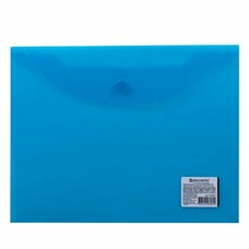 Папка-конверт с кнопкой BRAUBERG, А5, 240х190 мм, прозрачная, синяя, 0,15 мм, 224027