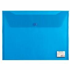 Папка-конверт с кнопкой BRAUBERG, А4, прозрачная, синяя, до 100 листов, 0,15 мм, 221637