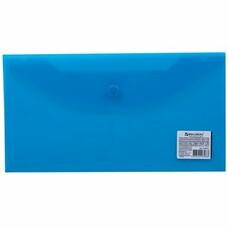 Папка-конверт с кнопкой BRAUBERG, 250х135 мм, прозрачная, синяя, 0,15 мм, 224031