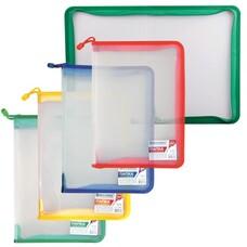 """Папка на молнии пластиковая BRAUBERG """"Диагональ"""", А4, 325х230 мм, прозрачная, молния ассорти, 224052"""