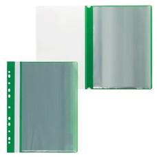 Папка 10 вкладышей STAFF с перфорацией, мягкая, зеленая, 0,16 мм, 224975