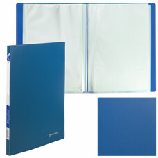 """Папка 10 вкладышей BRAUBERG """"Office"""", синяя, 0,5 мм, 222625"""