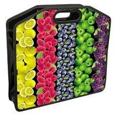 Сумка пластиковая BRAUBERG, A4 37х30 см, на молнии, цветная печать, для девочек, универсальная, фрукты, 223803