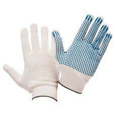 Перчатки хлопчатобумажные 13 класс, 40-42 г, 66 текс, ПВХ-точка, комплект 5 пар, ЛАЙМА ПРОФИ, белые