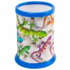 """Подставка-стакан для канцелярских принадлежностей BRAUBERG, 3D-эффект, """"Ящерицы"""", D 87x106 мм, 236442"""