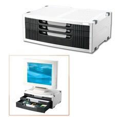 Подставка для принтера или монитора BRAUBERG, с 1 полкой и 3 ящиками, 380х275х150 мм, 510190