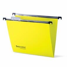 Подвесные папки пластиковые BRAUBERG(Италия), комплект 5 шт., 315х245 мм, до 80 л. А4, желтые, пластиковые табуляторы, 231798
