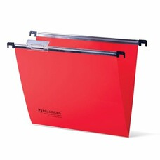 Подвесные папки пластиковые BRAUBERG(Италия), комплект 5 шт., 315х245 мм, до 80 л. А4, красные, пластиковые табуляторы, 231800